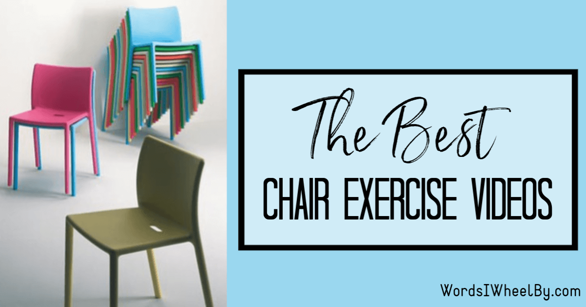 """A photo of pink, green, and blue plastic chairs, stacked. Next to the image is text that reads """"The Best Chair Exercise Videos"""""""